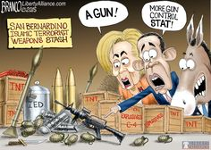 Liberal's ISIS Strategy is just a war on guns (your Gun) when it comes to addressing this terror in America. Political Cartoon by A.F.Branco ©2015