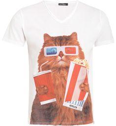 I REALLY WANT THIS SHIRT!French Kick T-shirt Popcorn Cat / Blanc | E-shop Citadium
