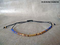 NOUVEAUTÉ Bracelet d'amitié réglable en perles Miyuki delicas Bleu, marron et doré Minimalisme Bohochic Bohemian Bohostyle : Bracelet par m-comme-maryna