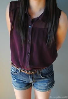 LOVE this purple color. Also very into sleeveless shirts like this for spring/summer.