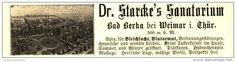 Original-Werbung/ Anzeige 1899 - DR.STARCKE´S SANATORIUM BAD BERKA BEI WEIMAR - ca. 110 x 25 mm