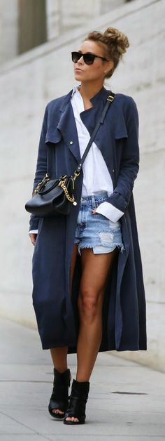 Street chic + Old Navy Long & Ripped DenimCoat