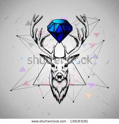 deer with diamond by Yagello Oleksandra, via ShutterStock
