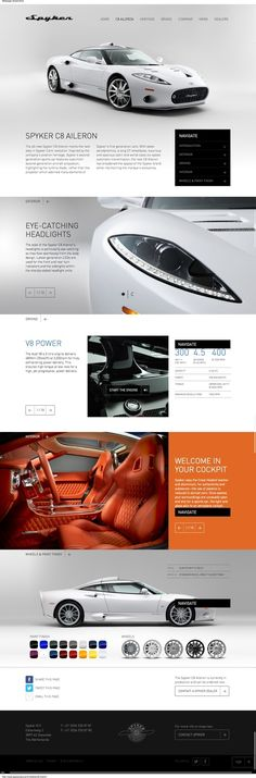 Spyker car - Website page #cars #benchmark #website #web #webdesign #design #automobile