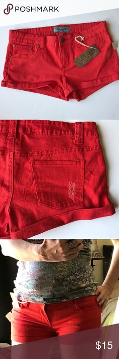 4/$25 new red DENIM jean SHORTS cuff orange M New with tags. Red orange stretch DENIM jean shorts! With intentional patches of roughness. Marked as a L, fits a medium. Cotton spandex. By DENIM Blvd. (My13) Urban Outfitters Shorts Jean Shorts