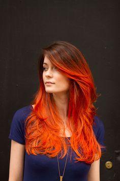 Auburn to Orange Gradient Ombré Flame Hair | www.rnrhairandbeauty.com.au