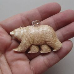 Bear Pendant in Antique Color From Buffalo Bone Carving With Silver Bail…