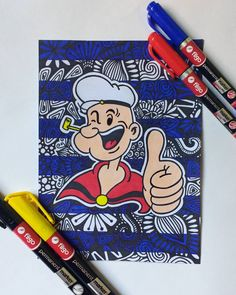 Popeye el marino ? ? ? ? #draw #drawing #painting #color #paint #zentangleart #drawings #sketch #drawn #art #artist #artistic #artists?