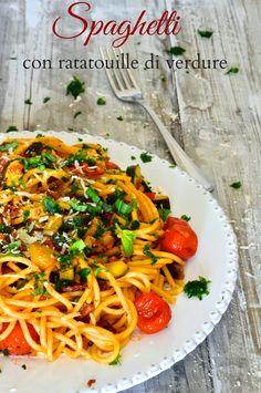 la pancia del lupo: Spaghetti con ratatouille di verdure