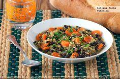 Receta de sopa de quinoa con zanahorias y alubias negras. Con fotos del paso a paso, consejos y sugerencias de degustación. Receta saludable....