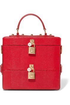 Dolce & Gabbana | Vanity-case en cuir effet lézard glacé à ornements | NET-A-PORTER.COM