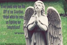 If we could only see the JOY of our guardian angel when he sees us fighting our temptations! Catholic Religion, Catholic Saints, Angel Protector, St John Vianney, Lives Of The Saints, Angel Quotes, Religious Pictures, Saint Quotes, Heaven Sent