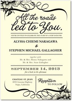 An invitation idea .... I like it with brown lettering and without the swirly junk on top.