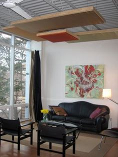 Hanging DIY panels...suspend panels from the wall with a texture background on the wall