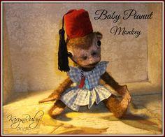 PDF EPattern  to make 9 inch Monkey 'Baby Peanut Monkey'  Vintage Style  Mohair by Artist KarynRuby - pinned by pin4etsy.com