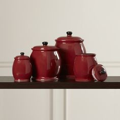 Darby Home Co Jars 4 Piece Hearthstone Canister Set in Chili Red