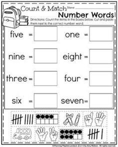 Back to School Kindergarten Worksheets - Count and Match Number Words. Numbers Kindergarten, Kindergarten Math Worksheets, School Worksheets, Math Numbers, Worksheets For Kids, Math Activities, Math Games, Number Words Worksheets, 1st Grade Math