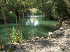 The River Jordan. Historically and spiritually significant river in Israel. Said to be the place where John baptized Jesus and the place where Elisa healed Naaman by having him bathe in its waters. Water flows into it from the Sea of Galilee. Empties into the Dead Sea.