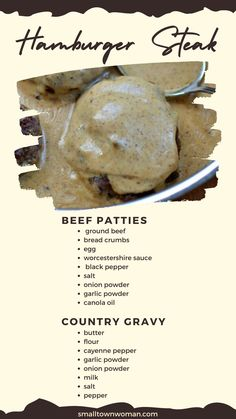 Entree Recipes, Meat Recipes, Cooking Recipes, Beef Dishes, Food Dishes, Ground Beef Recipes For Dinner, Healthy Eating Recipes, Holiday Recipes, Hamburger Steaks