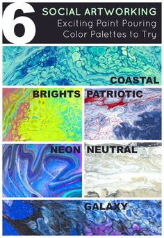 Weve pulled together some of our favorite color palettes and how you can achieve them with your Social Artworking Canvas Artist Acrylics. Pour Painting Techniques, Acrylic Pouring Techniques, Acrylic Pouring Art, Painting Lessons, Art Lessons, Acrylic Painting Tips, Drip Painting, Acrylic Art, Bubble Drawing