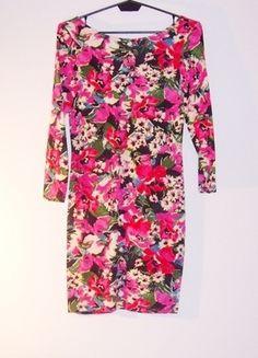 Kup mój przedmiot na #vintedpl http://www.vinted.pl/damska-odziez/krotkie-sukienki/13371042-sukienka-floral-print-kolorowa-bandazowa-mini-odkryte-plecy-36