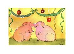 Pig Christmas Card - Pig Art - Pigs Christmas Greeting Card - Pig Christmas Watercolor Card Print 'Piggy Kisses And Christmas Wishes' on Etsy, $3.50