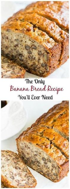 Best Banana Bread ~Sweet & Savory by Shinee Why make one when you can easily make two? This ridiculously easy, one-bowl basic banana bread recipe is the only recipe you'll ever need! Read on for my secret to the moistest and flavorful banana bread. Moist Banana Bread, Banana Bread Recipes, 2 Loaves Banana Bread Recipe, Homemade Banana Bread, Banana Nut Bread Recipe With Brown Sugar, Banana Bread Puddings, Banana Bread Recipe Frozen Bananas, Banana Bread Recipe With Pudding, Cupcake Recipes