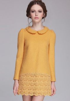 Yellow Lapel Long Sleeve Contrast Lace Embroidered Dress