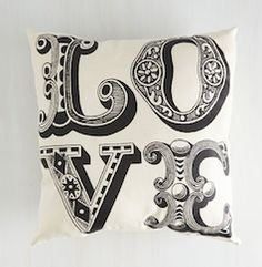 """love"" black and white accent pillow"