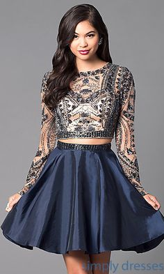 Shop two-piece sweet-16 dresses and long-sleeve short dresses at Simply Dresses. Beaded long-sleeve homecoming dresses and cocktail dresses.
