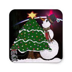 #Christmas Snowman Surprise Holidays Square Sticker - #friday #fridays