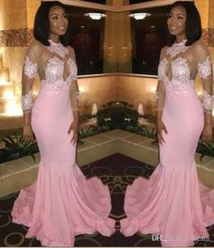 4424d46fff4d Saudi Arabic Long Sleeves Prom Dresses Sexy Jewel Sheer Neck Lace Appliqued Mermaid  Evening Gowns Illusion Bodice Black Girls Party Gowns