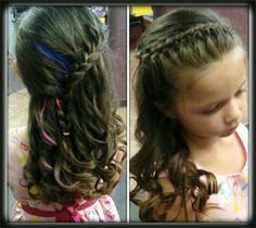 Little girls hair with color clips