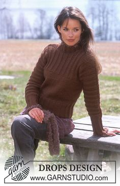 """DROPS Sweater with sleeves worked """"in-one"""" in Alaska. Scarf in Puddel. ~ DROPS 91-4 pullover neckline."""