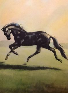 """I remember a large pleasant meadow,"" a plate from Black Beauty, The Autobiography of a Horse by Anna Sewell, Illustrated by Wesley Dennis.  The World Publishing Company, 1946"