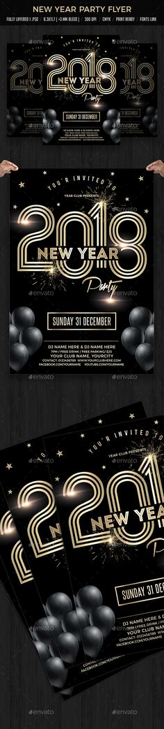New Year 2018 Party Flyer Template PSD #nye
