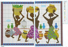 0 point de croix 3 femmes africaines avec paniers - cross stitch 3 african women with baskets Filet Crochet Charts, Charts And Graphs, Modern Cross Stitch Patterns, Tapestry Crochet, African Design, Le Point, African Women, Cross Stitching, Beading Patterns