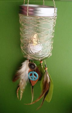 Dream Catcher Lantern - Ball Jar - Peace - Bohemian - Candle