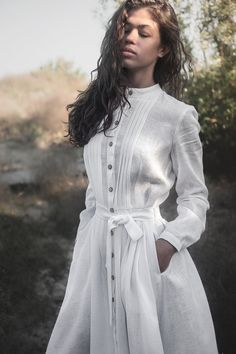White linen dress with buttons and belt, White linen shirt dress, White Victorian dress, Bohemian dress, Summer Dress for Women White Linen Shirt, White Linen Dresses, Linen Shirt Dress, White Dress, Womens Linen Dresses, Linen Tunic, Summer Dresses For Women, Dress Summer, Birthday Dresses For Women