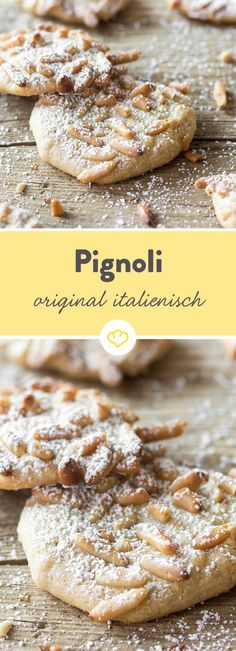 Pignoli - Italian cookies with pine nuts- Pignoli – italienische Plätzchen mit Pinienkernen Sweet marzipan and aromatic pine nuts give themselves … - Italian Biscuits, Italian Cookies, Italian Desserts, Italian Recipes, No Bake Desserts, Dessert Recipes, Baking Recipes, Cookie Recipes, Food Cakes
