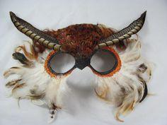 ON SALE / Custom Handmade Horned Owl Mask / Animal Mask / Mardi Gras Masquerade / Halloween Mask / Owl Costume