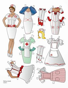 Here is another paper doll Miss Missy designed for Halloween. Included: Vintage Uniform, Candy Striper, Scrubs and more for a total of 6 costumes, an extra hair style and extra pairs of shoes/stockings Melissa Smith AKA Miss Missy used Adobe Illustrator. Melissa used this image as reference for the base of the paper doll model.
