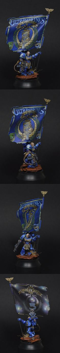 Gorgeous freehand painting on the banner   40k - Ultramarine Space Marine With Banner by Ithandir