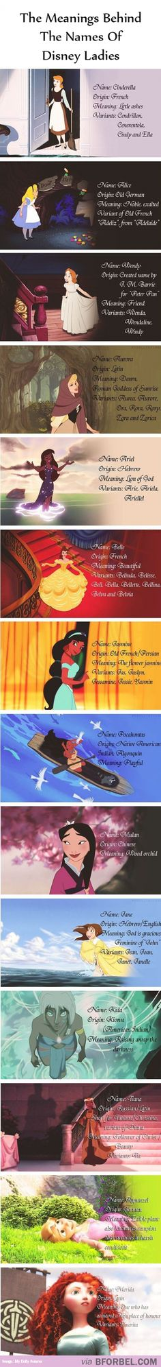 The Meanings Behind The Names Of The Disney Ladies - I knew about Aurora, but wow, Wendy didn't exist before JM Barrie created it? Disney Pixar, Walt Disney, Disney Facts, Disney Quotes, Disney Girls, Disney And Dreamworks, Disney Love, Disney Magic, Disney Characters