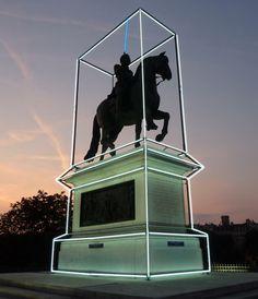 Henri IV by Jean-Charles de Castelbajac. Light art installation
