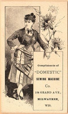 Victorian Trade Card-Domestic Sewing Machine-Milwaukee, WI