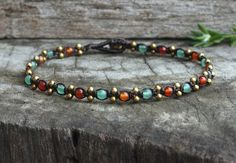 Jade Orange Brass Cute Anklet by brasslady on Etsy