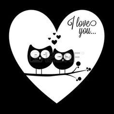 animali bianco e nero: due gufi in amore su sfondo astratto cuore sfondo amore