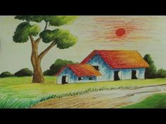 Easy nature drawing for kids how to draw a village scenery very easy step by step . easy nature drawing for kids Simple Nature Drawing, Easy Nature Drawings, Nature Drawing For Kids, Easy Scenery Drawing, Pencil Drawings Of Nature, Easy Drawings, Oil Pastel Paintings, Oil Pastel Drawings, Simple Acrylic Paintings