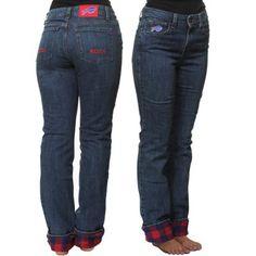 Buffalo Bills Women's Safety Flannel Denim Jeans - mAYBE not mom jeans??
